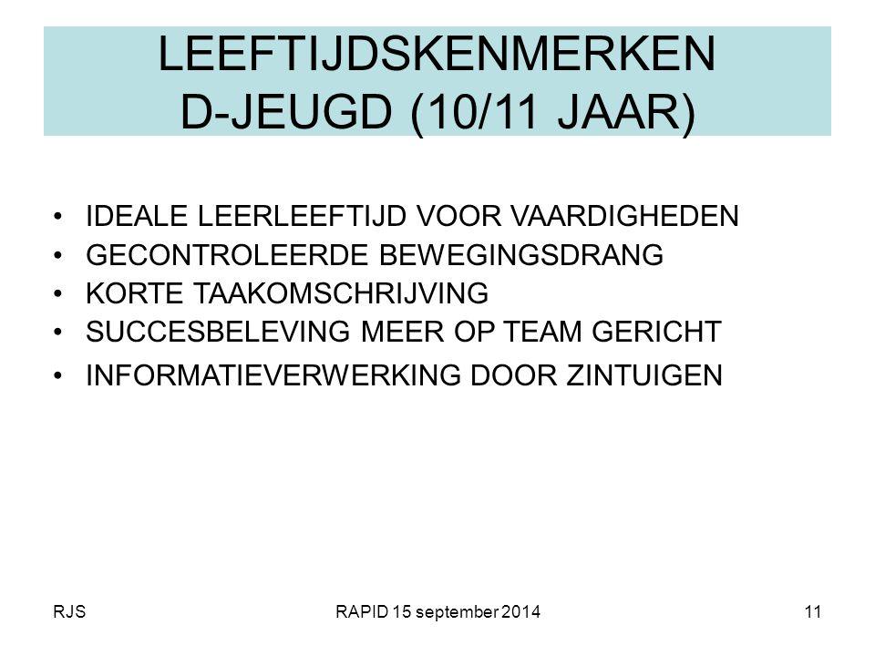 RJSRAPID 15 september 201411 LEEFTIJDSKENMERKEN D-JEUGD (10/11 JAAR) IDEALE LEERLEEFTIJD VOOR VAARDIGHEDEN GECONTROLEERDE BEWEGINGSDRANG KORTE TAAKOMS