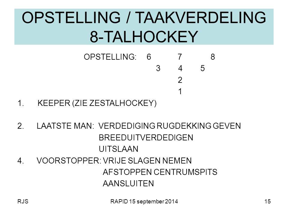 RJSRAPID 15 september 201415 OPSTELLING / TAAKVERDELING 8-TALHOCKEY OPSTELLING: 6 7 8 3 4 5 2 1 1. KEEPER (ZIE ZESTALHOCKEY) 2.LAATSTE MAN: VERDEDIGIN