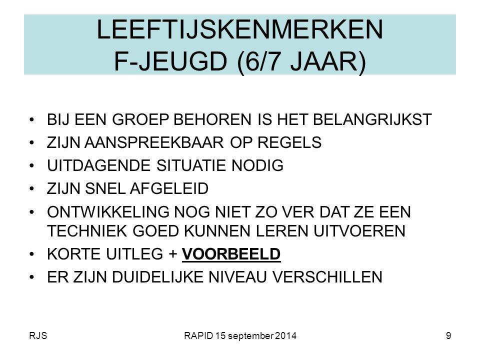 RJSRAPID 15 september 20149 LEEFTIJSKENMERKEN F-JEUGD (6/7 JAAR) BIJ EEN GROEP BEHOREN IS HET BELANGRIJKST ZIJN AANSPREEKBAAR OP REGELS UITDAGENDE SIT