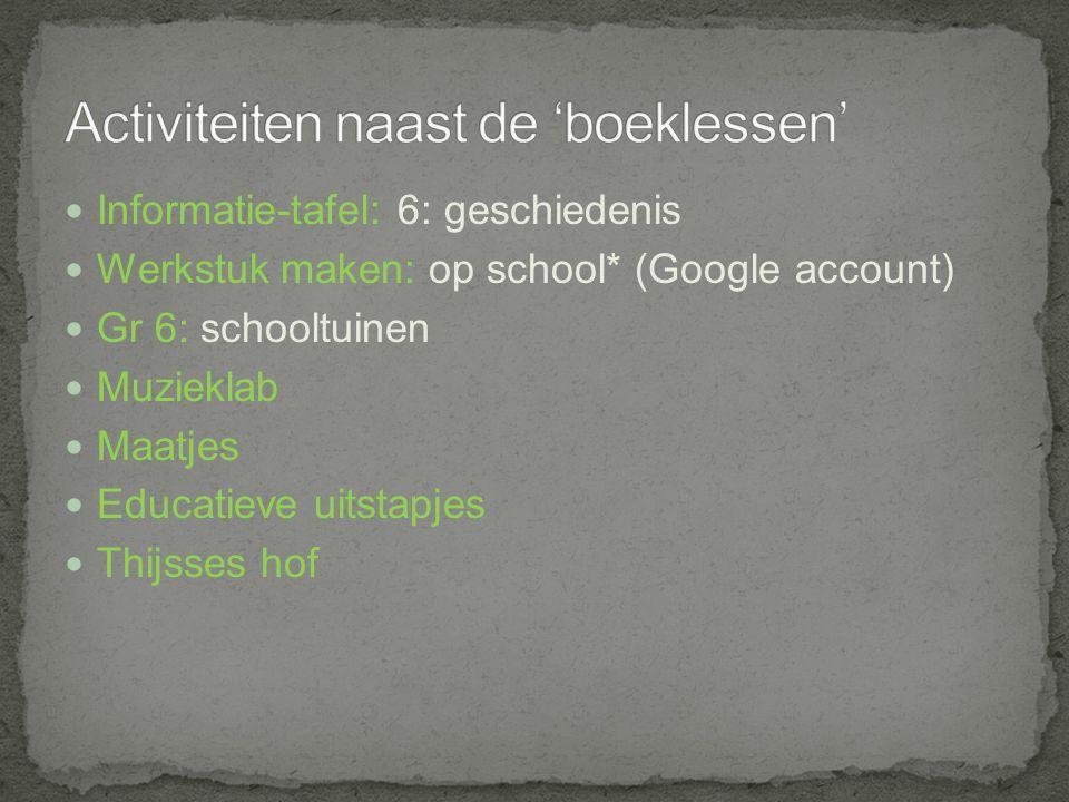 Informatie-tafel: 6: geschiedenis Werkstuk maken: op school* (Google account) Gr 6: schooltuinen Muzieklab Maatjes Educatieve uitstapjes Thijsses hof