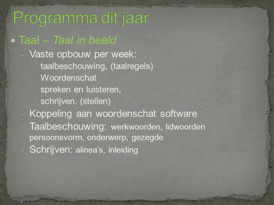 Taal – Taal in beeld - Vaste opbouw per week: - taalbeschouwing, (taalregels) - Woordenschat - spreken en luisteren, - schrijven.