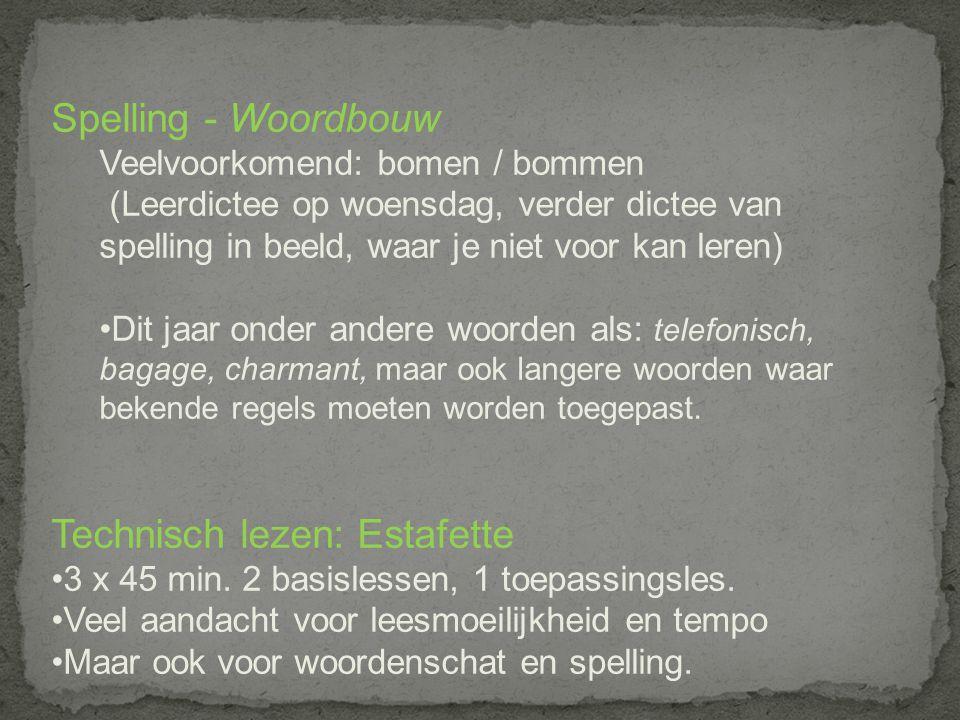 Spelling - Woordbouw Veelvoorkomend: bomen / bommen (Leerdictee op woensdag, verder dictee van spelling in beeld, waar je niet voor kan leren) Dit jaa