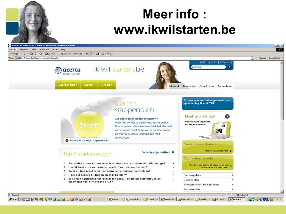 15 Meer info : www.ikwilstarten.be