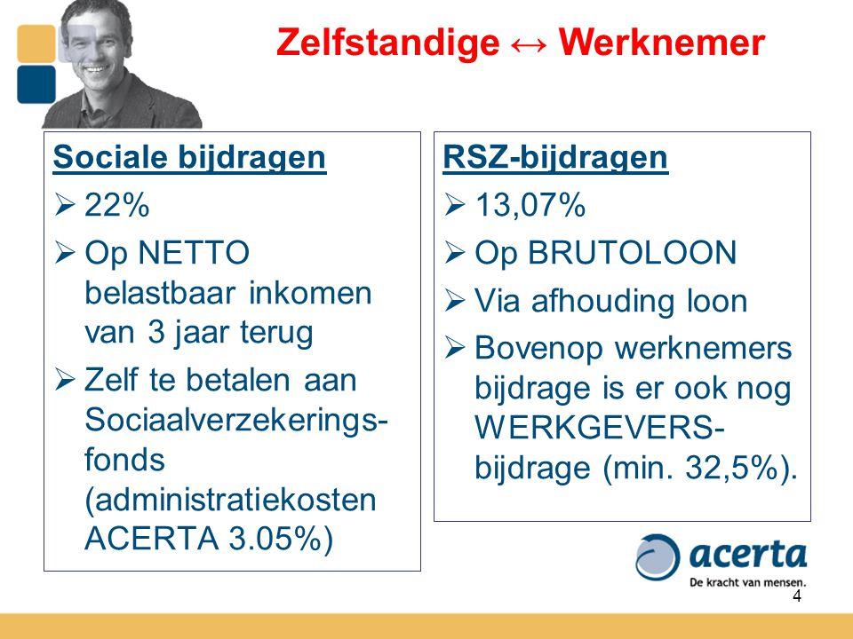 4 Zelfstandige ↔ Werknemer Sociale bijdragen  22%  Op NETTO belastbaar inkomen van 3 jaar terug  Zelf te betalen aan Sociaalverzekerings- fonds (ad