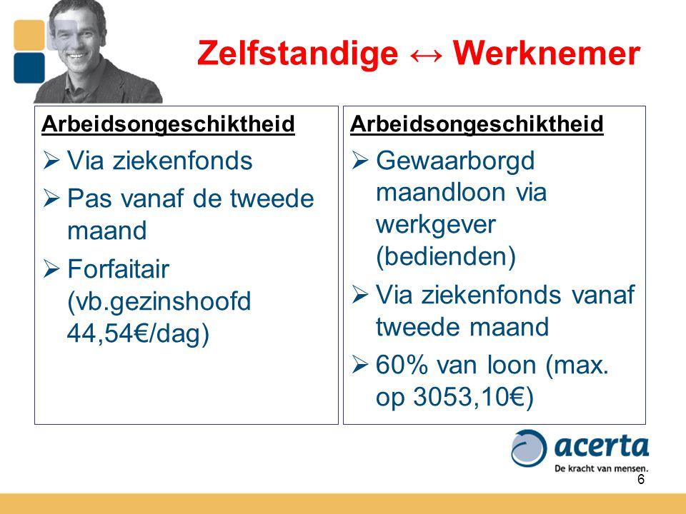 7 Zelfstandige ↔ Werknemer Arbeidsongevallen  Enkel de gewone tussenkomst van de ziekteverzekering.