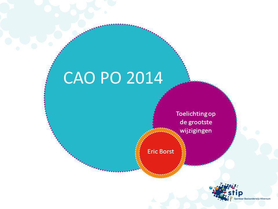 Eric Borst CAO PO 2014 Toelichting op de grootste wijzigingen