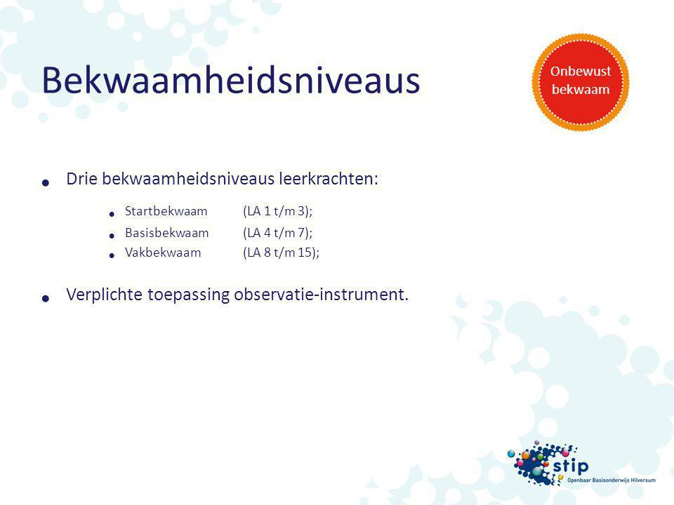 Bekwaamheidsniveaus Drie bekwaamheidsniveaus leerkrachten: Startbekwaam (LA 1 t/m 3); Basisbekwaam (LA 4 t/m 7); Vakbekwaam (LA 8 t/m 15); Verplichte