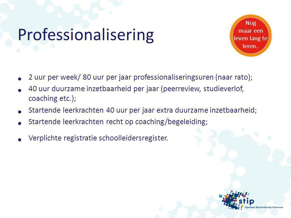 Professionalisering 2 uur per week/ 80 uur per jaar professionaliseringsuren (naar rato); 40 uur duurzame inzetbaarheid per jaar (peerreview, studieve