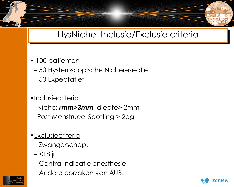 100 patienten – 50 Hysteroscopische Nicheresectie – 50 Expectatief Inclusiecriteria rmm>3mm –Niche: rmm>3mm, diepte> 2mm –Post Menstrueel Spotting > 2
