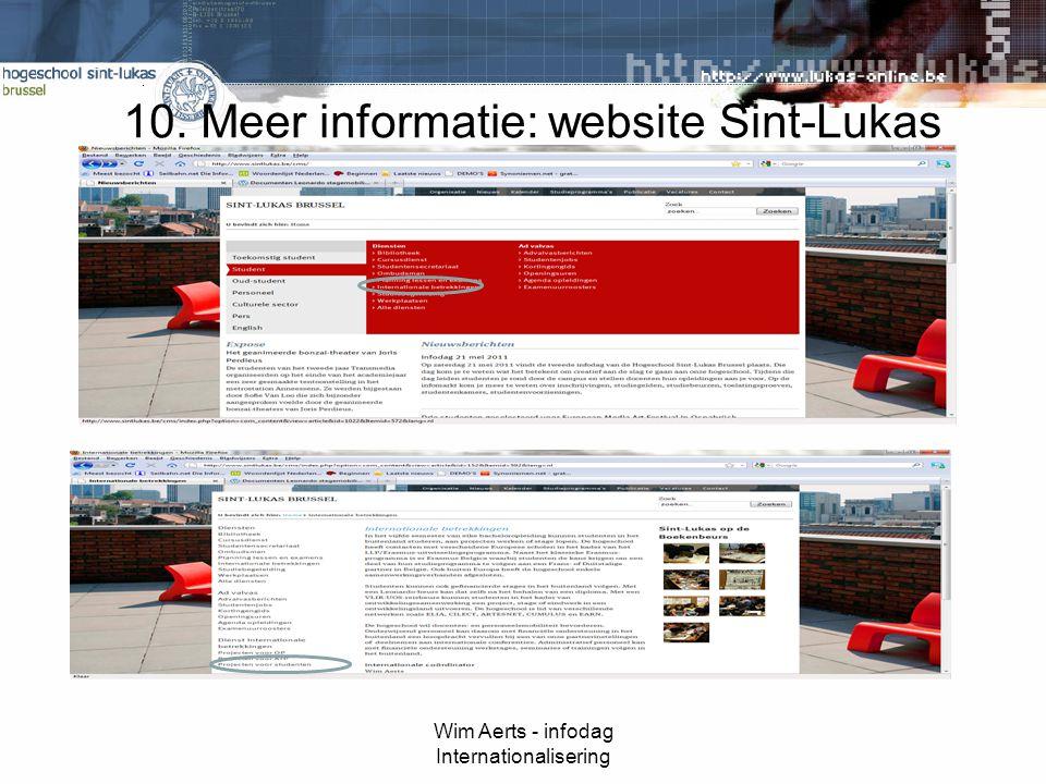10. Meer informatie: website Sint-Lukas Wim Aerts - infodag Internationalisering