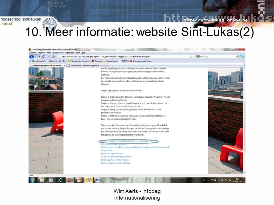10. Meer informatie: website Sint-Lukas(2) Wim Aerts - infodag Internationalisering