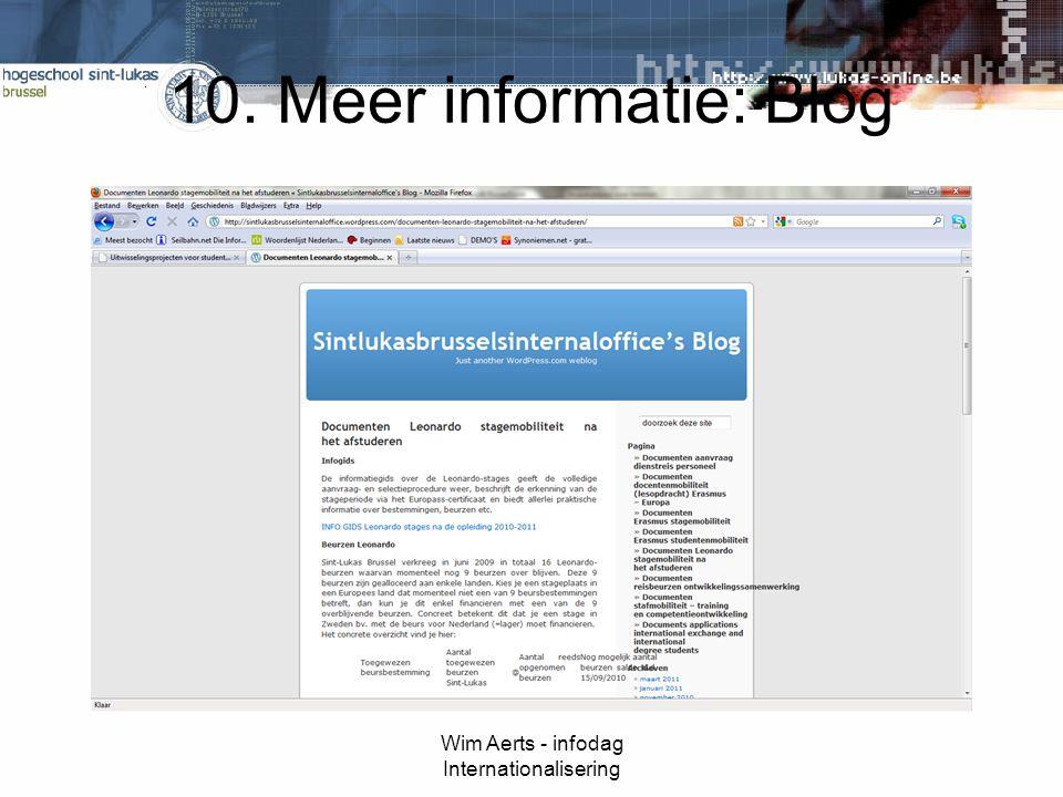 10. Meer informatie: Blog Wim Aerts - infodag Internationalisering