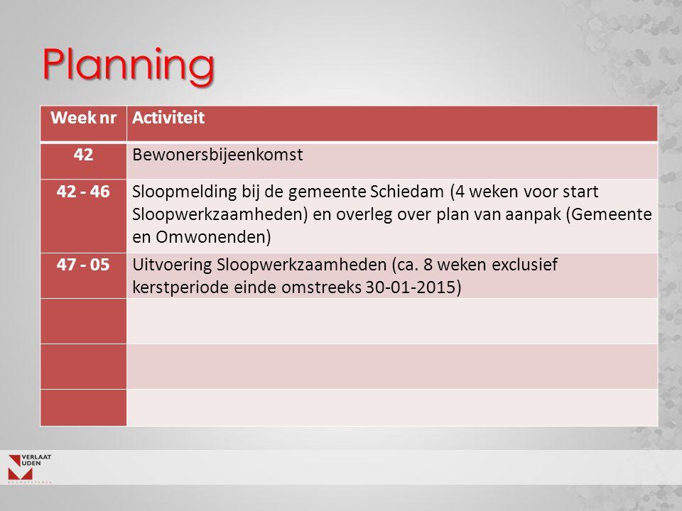 Planning Week nrActiviteit 42Bewonersbijeenkomst 42 - 46Sloopmelding bij de gemeente Schiedam (4 weken voor start Sloopwerkzaamheden) en overleg over