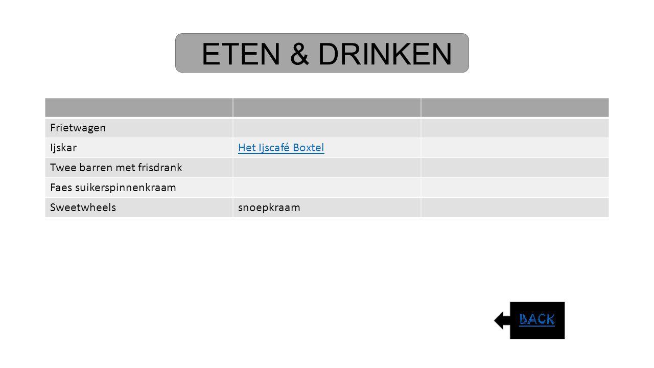 ETEN & DRINKEN Frietwagen IjskarHet Ijscafé Boxtel Twee barren met frisdrank Faes suikerspinnenkraam Sweetwheelssnoepkraam BACK