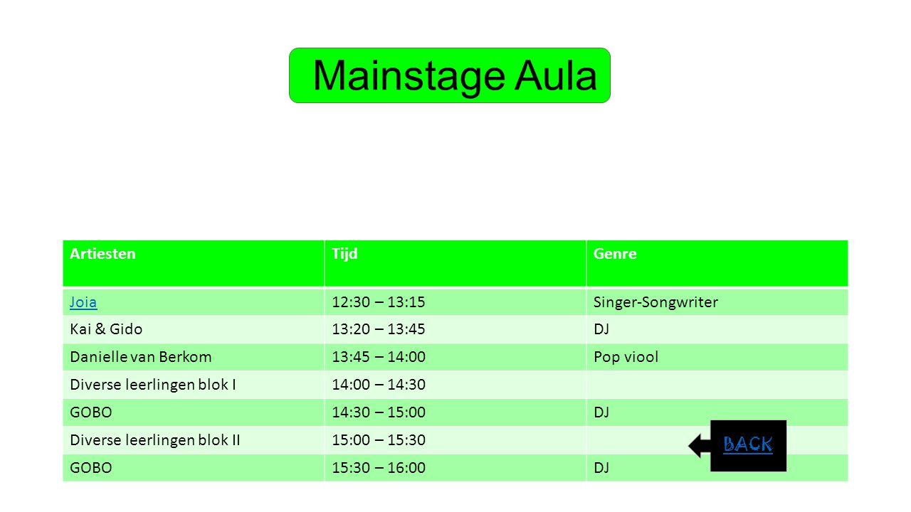 Mainstage Aula ArtiestenTijdGenre Joia12:30 – 13:15Singer-Songwriter Kai & Gido13:20 – 13:45DJ Danielle van Berkom13:45 – 14:00Pop viool Diverse leerl
