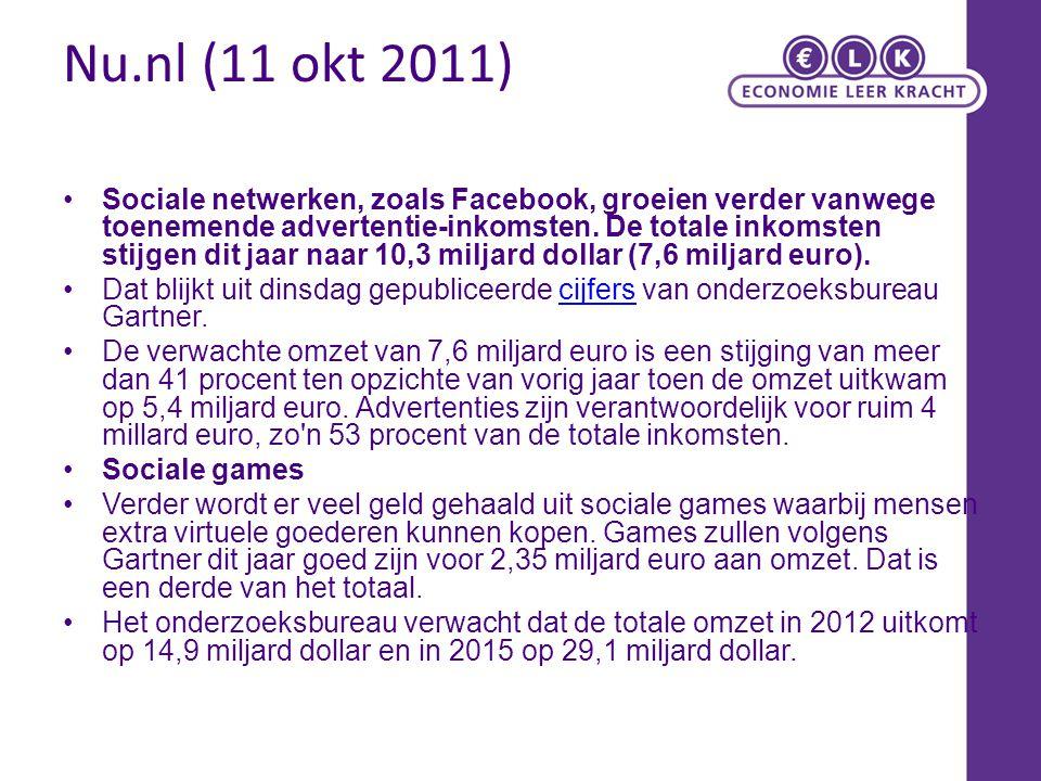 Nu.nl (11 okt 2011) Sociale netwerken, zoals Facebook, groeien verder vanwege toenemende advertentie-inkomsten. De totale inkomsten stijgen dit jaar n