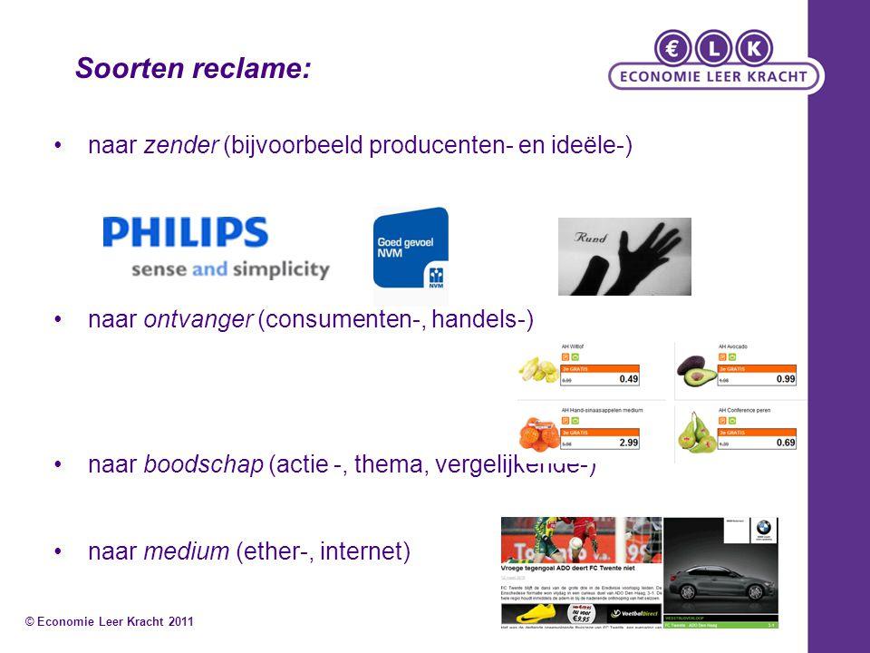 naar zender (bijvoorbeeld producenten- en ideële-) naar ontvanger (consumenten-, handels-) naar boodschap (actie -, thema, vergelijkende-) naar medium