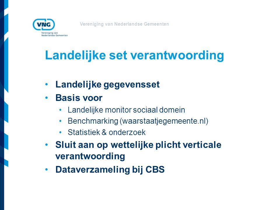 Vereniging van Nederlandse Gemeenten Landelijke set verantwoording Landelijke gegevensset Basis voor Landelijke monitor sociaal domein Benchmarking (w