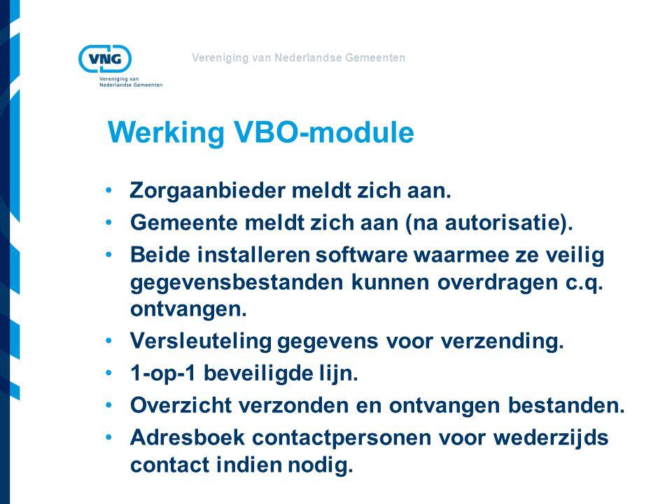Vereniging van Nederlandse Gemeenten Werking VBO-module Zorgaanbieder meldt zich aan. Gemeente meldt zich aan (na autorisatie). Beide installeren soft