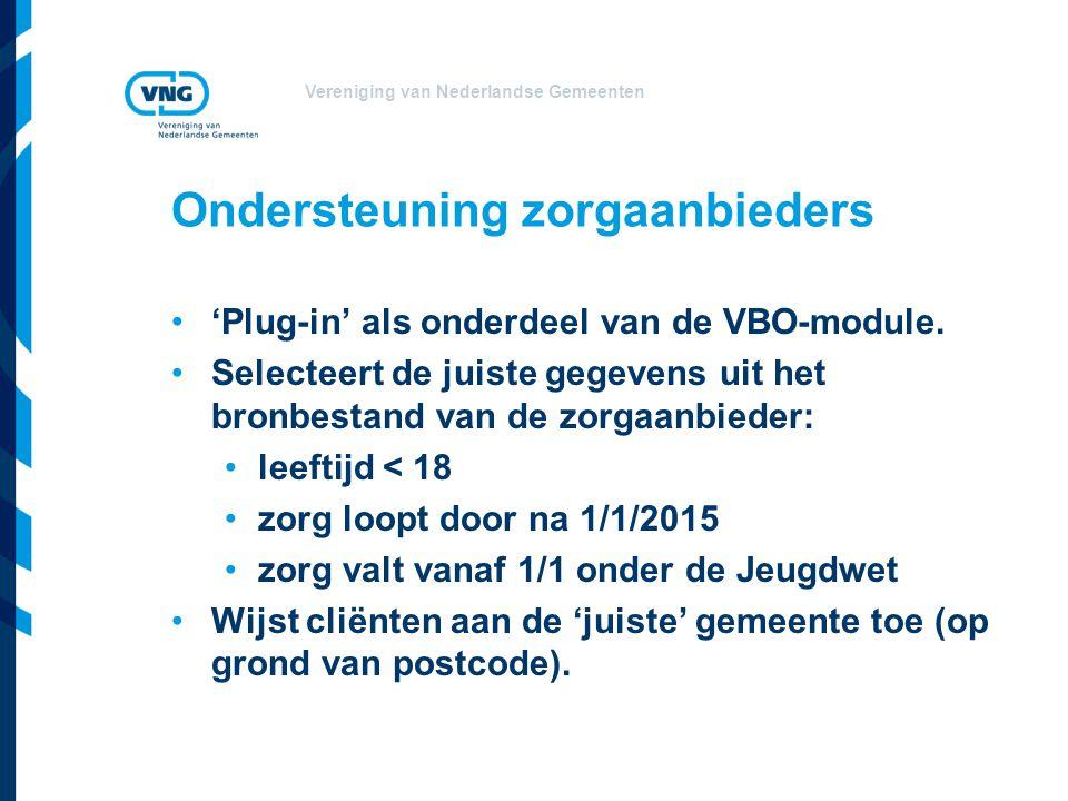 Vereniging van Nederlandse Gemeenten Ondersteuning zorgaanbieders 'Plug-in' als onderdeel van de VBO-module. Selecteert de juiste gegevens uit het bro
