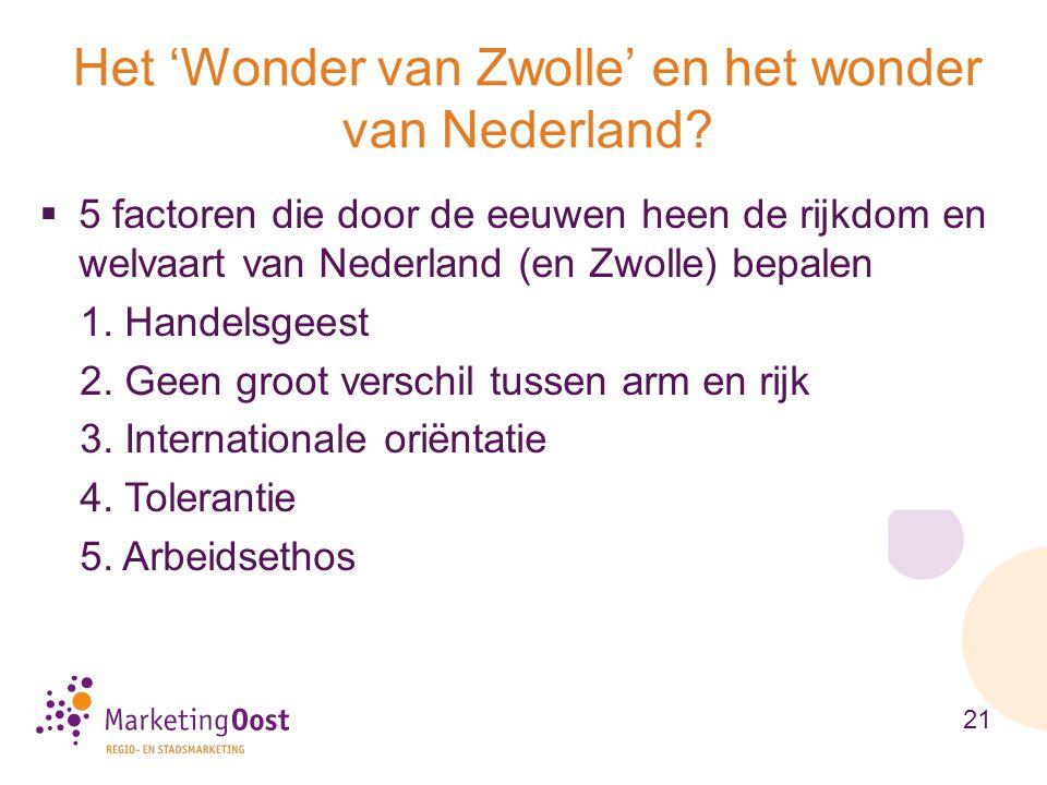  5 factoren die door de eeuwen heen de rijkdom en welvaart van Nederland (en Zwolle) bepalen 1. Handelsgeest 2. Geen groot verschil tussen arm en rij