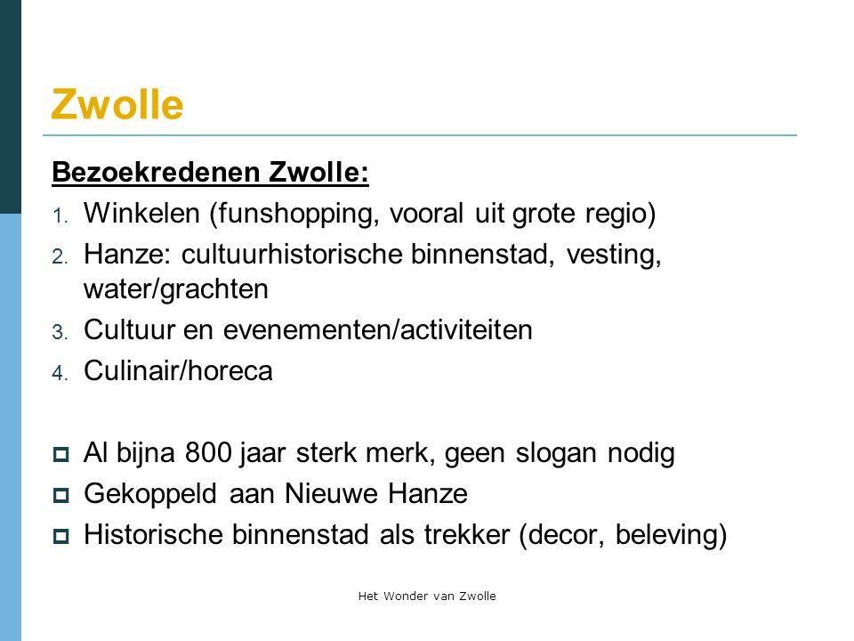 Zwolle Bezoekredenen Zwolle: 1. Winkelen (funshopping, vooral uit grote regio) 2. Hanze: cultuurhistorische binnenstad, vesting, water/grachten 3. Cul