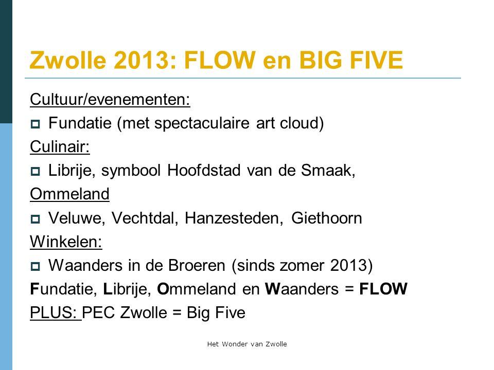 Zwolle 2013: FLOW en BIG FIVE Cultuur/evenementen:  Fundatie (met spectaculaire art cloud) Culinair:  Librije, symbool Hoofdstad van de Smaak, Ommel