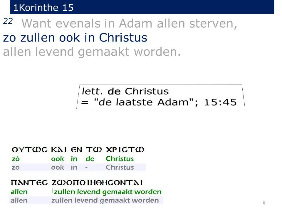 9 22 Want evenals in Adam allen sterven, zo zullen ook in Christus allen levend gemaakt worden.