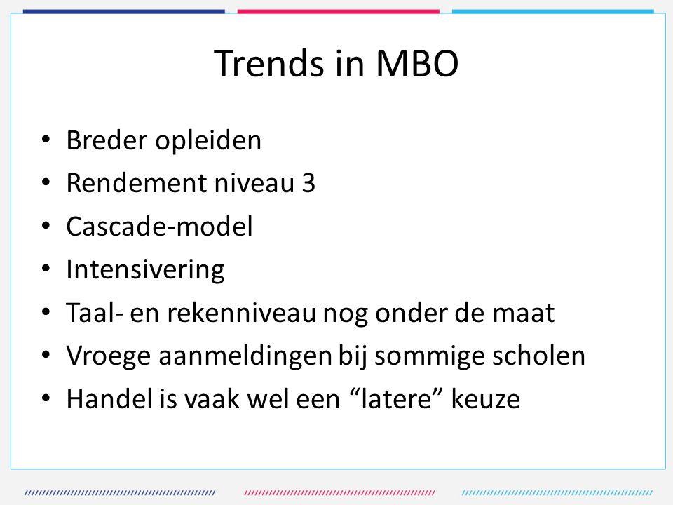 Trends in MBO Breder opleiden Rendement niveau 3 Cascade-model Intensivering Taal- en rekenniveau nog onder de maat Vroege aanmeldingen bij sommige sc