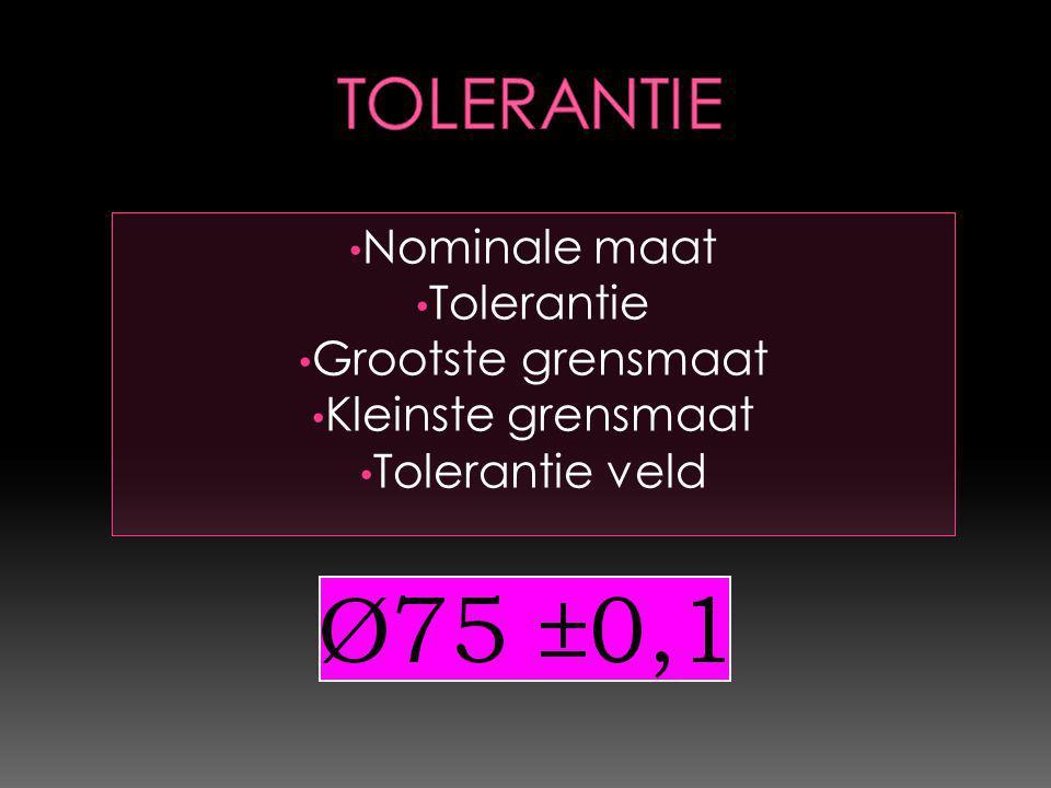 Ø75±0,1 Nominale maat = 75 Grootste grensmaat = 75,1 Kleinste grensmaat = 74,9 Tolerantie veld = 0,2