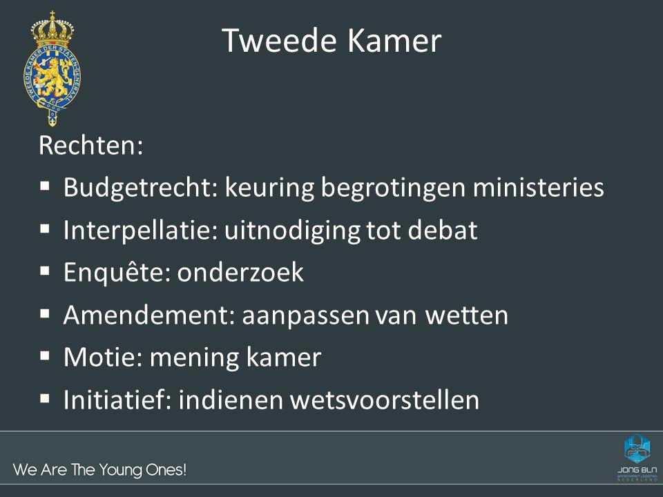 Tweede Kamer Rechten:  Budgetrecht: keuring begrotingen ministeries  Interpellatie: uitnodiging tot debat  Enquête: onderzoek  Amendement: aanpass