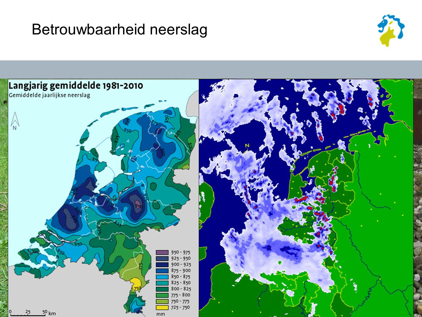 Betrouwbaarheid NRR NRR is al een stap vooruit: Radarcomposiet Laagste elevatie ipv CAPPI Meten dichtbij radar (v.a.