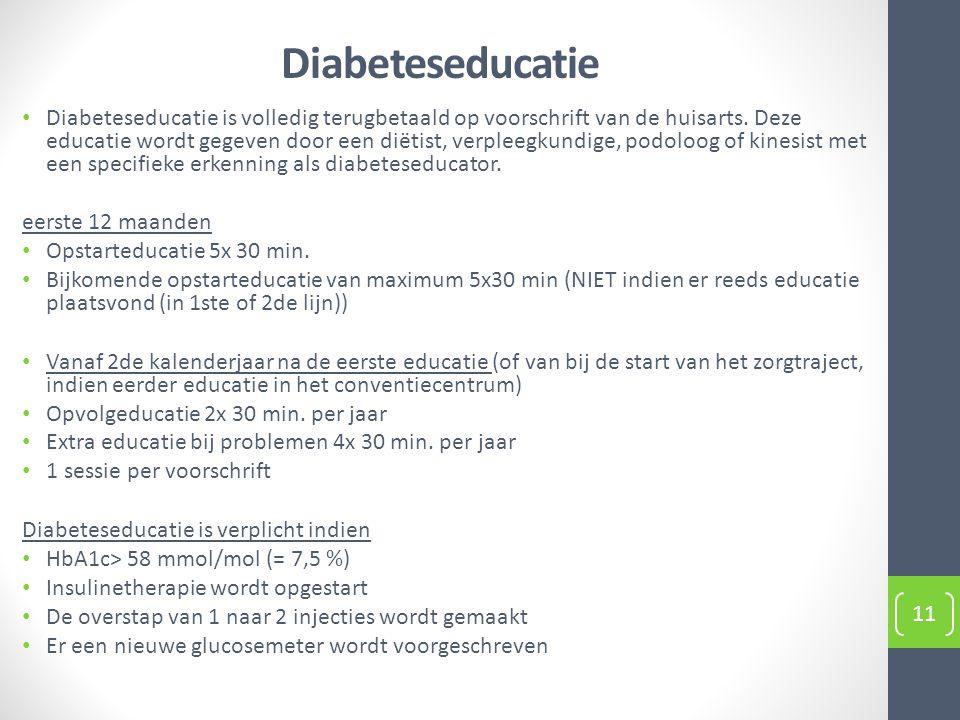 Diabeteseducatie 11 Diabeteseducatie is volledig terugbetaald op voorschrift van de huisarts. Deze educatie wordt gegeven door een diëtist, verpleegku