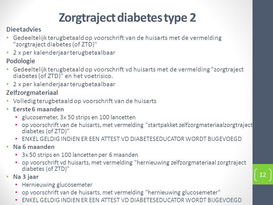 Zorgtraject diabetes type 2 Dieetadvies Gedeeltelijk terugbetaald op voorschrift van de huisarts met de vermelding