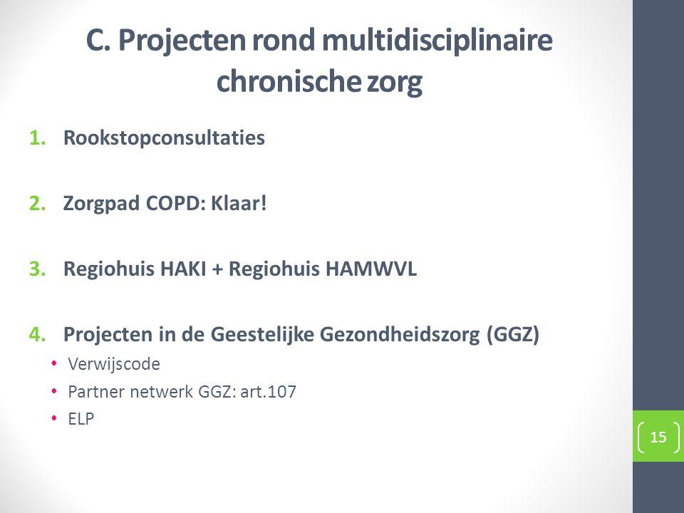 1.Rookstopconsultaties 2.Zorgpad COPD: Klaar! 3.Regiohuis HAKI + Regiohuis HAMWVL 4.Projecten in de Geestelijke Gezondheidszorg (GGZ) Verwijscode Part