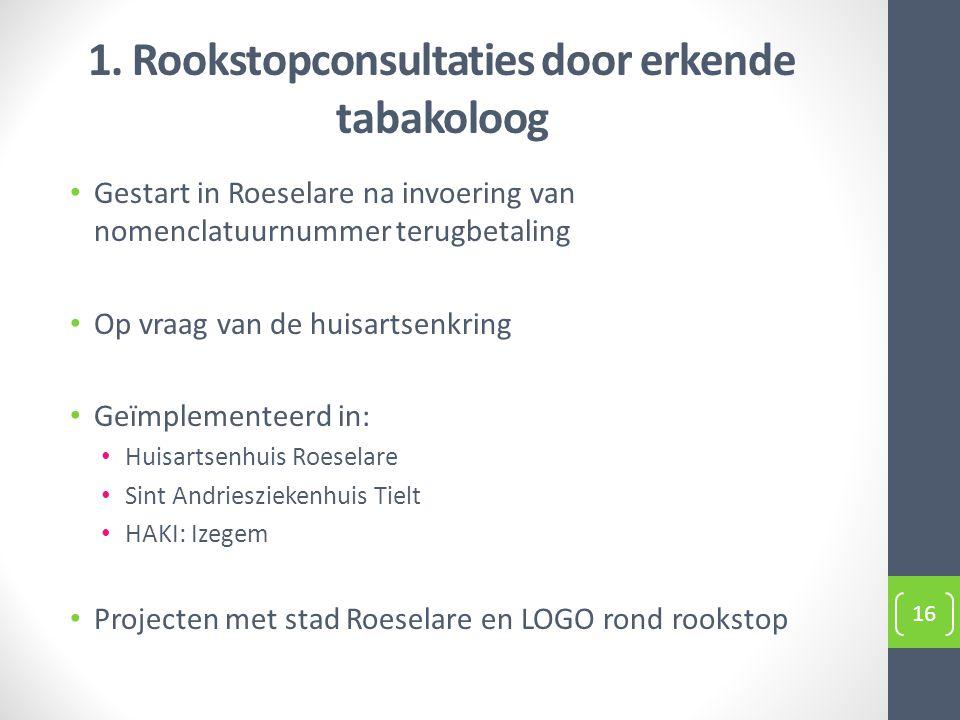 1. Rookstopconsultaties door erkende tabakoloog Gestart in Roeselare na invoering van nomenclatuurnummer terugbetaling Op vraag van de huisartsenkring