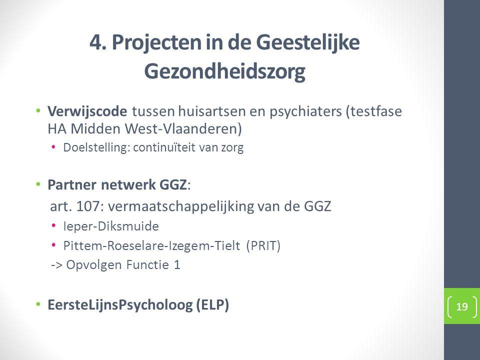 4. Projecten in de Geestelijke Gezondheidszorg Verwijscode tussen huisartsen en psychiaters (testfase HA Midden West-Vlaanderen) Doelstelling: continu