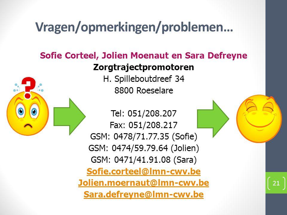 Vragen/opmerkingen/problemen… Sofie Corteel, Jolien Moenaut en Sara Defreyne Zorgtrajectpromotoren H. Spilleboutdreef 34 8800 Roeselare Tel: 051/208.2