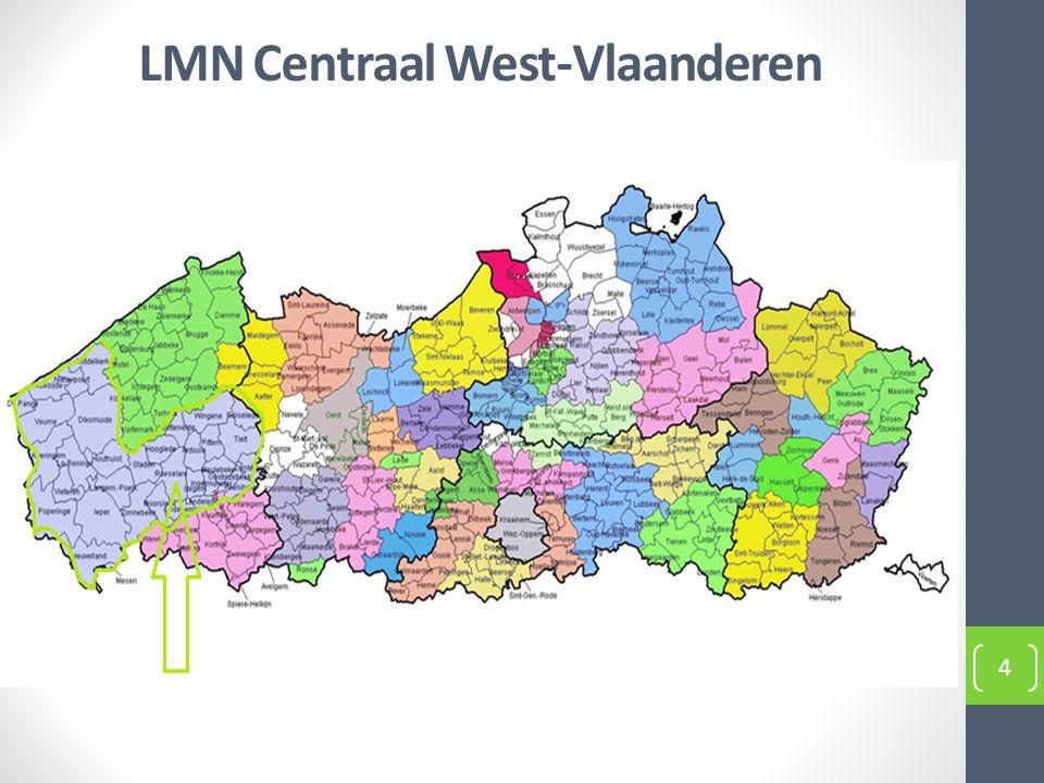 LMN Centraal West-Vlaanderen: grootste regio 5 huisartsenkringen + 3 SEL's HAMWVL HAKI HAOWVL Westhoek Ijzerstreek en Westkust SEL Oostende- Veurne SEL Zuid West- Vlaanderen SEL Midden West- Vlaanderen 5