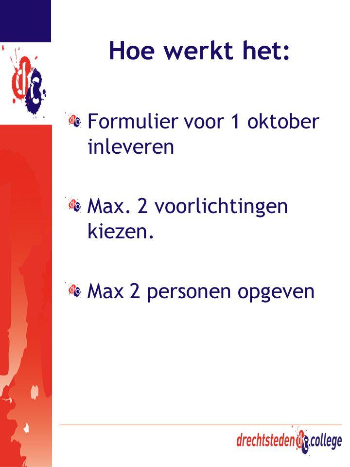 Hoe werkt het: Formulier voor 1 oktober inleveren Max. 2 voorlichtingen kiezen. Max 2 personen opgeven
