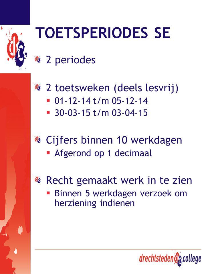 TOETSPERIODES SE 2 periodes 2 toetsweken (deels lesvrij)  01-12-14 t/m 05-12-14  30-03-15 t/m 03-04-15 Cijfers binnen 10 werkdagen  Afgerond op 1 d
