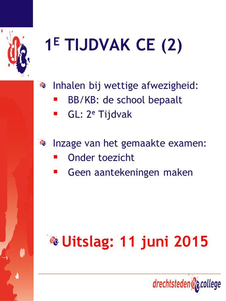 1 E TIJDVAK CE (2) Inhalen bij wettige afwezigheid:  BB/KB: de school bepaalt  GL: 2 e Tijdvak Inzage van het gemaakte examen:  Onder toezicht  Ge