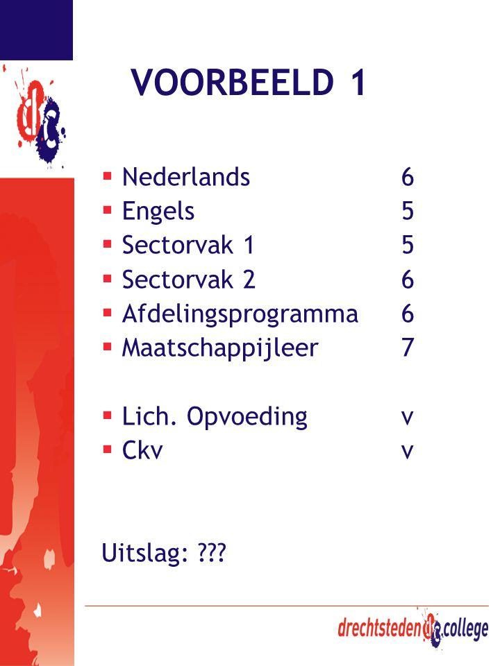 VOORBEELD 1  Nederlands6  Engels5  Sectorvak 15  Sectorvak 26  Afdelingsprogramma6  Maatschappijleer7  Lich. Opvoedingv  Ckvv Uitslag: ???