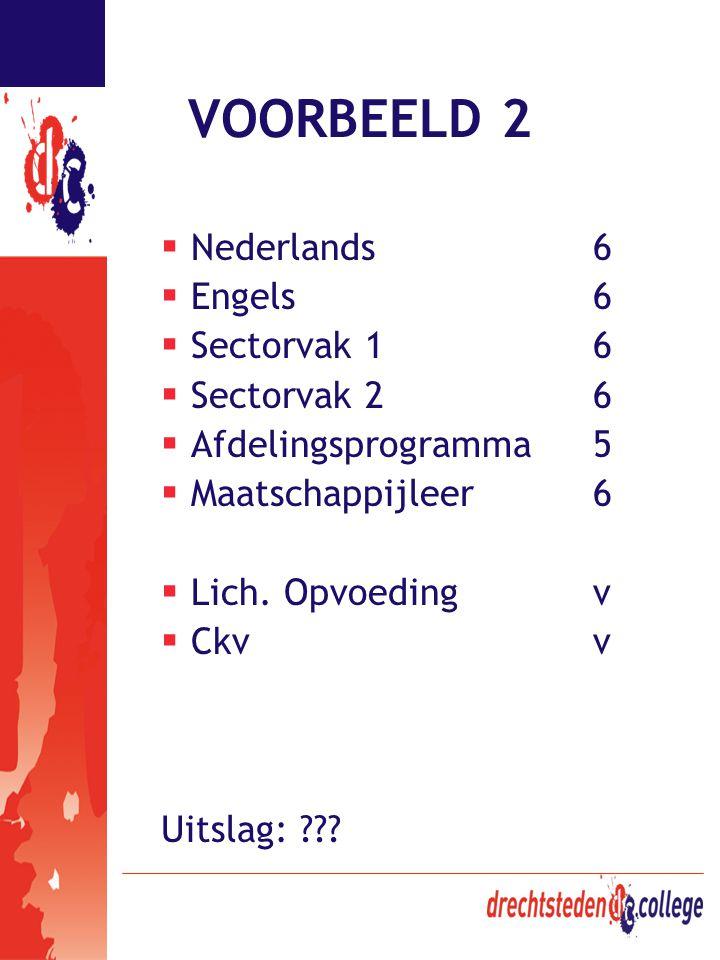 VOORBEELD 2  Nederlands6  Engels6  Sectorvak 16  Sectorvak 26  Afdelingsprogramma5  Maatschappijleer6  Lich. Opvoedingv  Ckv v Uitslag: ???
