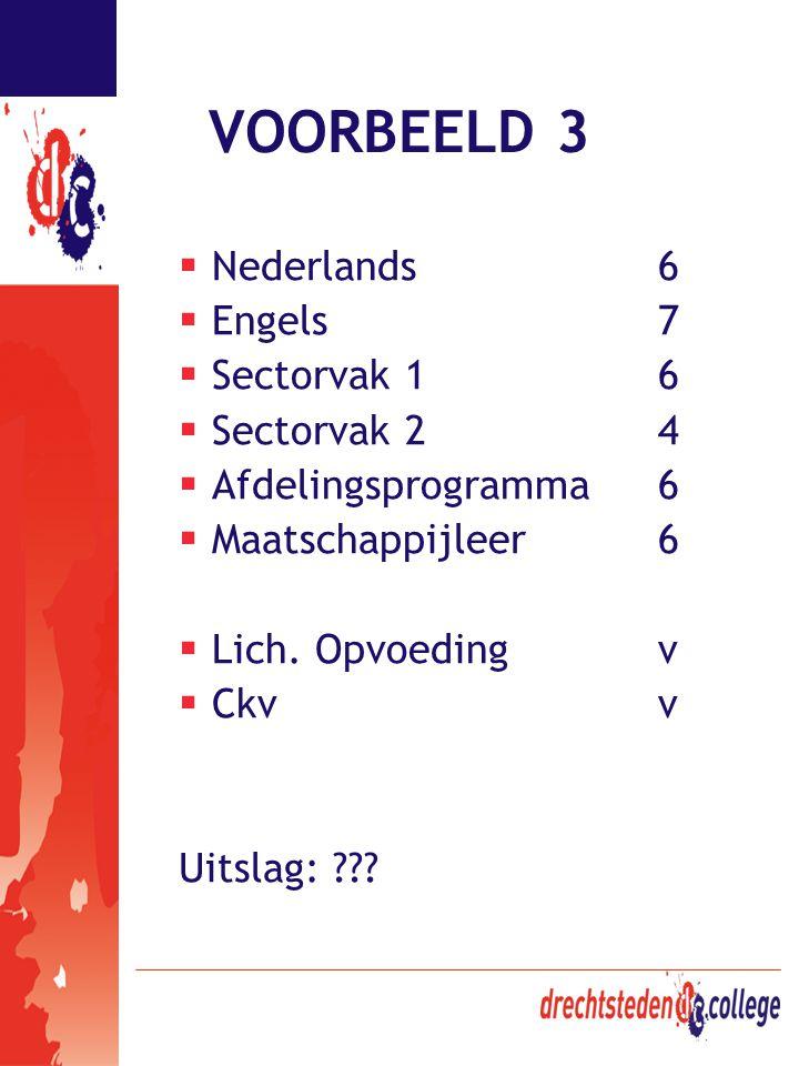 VOORBEELD 3  Nederlands6  Engels7  Sectorvak 16  Sectorvak 24  Afdelingsprogramma6  Maatschappijleer6  Lich. Opvoedingv  Ckvv Uitslag: ???
