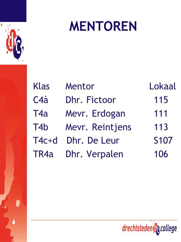 MENTOREN Klas Mentor Lokaal C4à Dhr. Fictoor 115 T4a Mevr. Erdogan 111 T4b Mevr. Reintjens 113 T4c+d Dhr. De LeurS107 TR4a Dhr. Verpalen 106