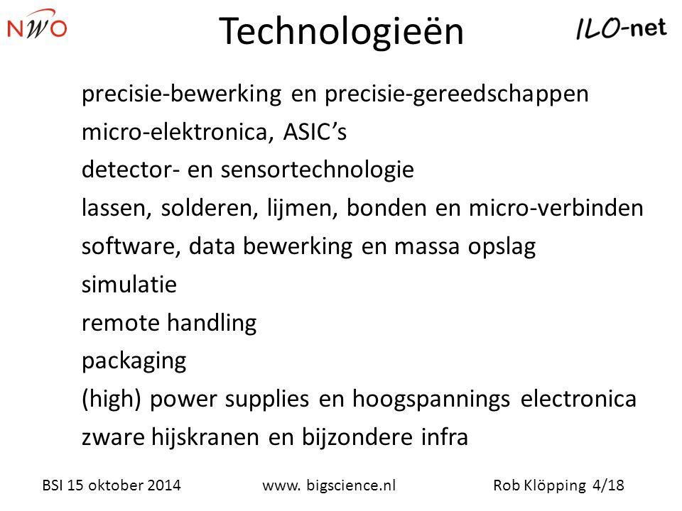 Rob Klöpping 4/18www. bigscience.nl BSI 15 oktober 2014 Technologieën precisie-bewerking en precisie-gereedschappen micro-elektronica, ASIC's detector