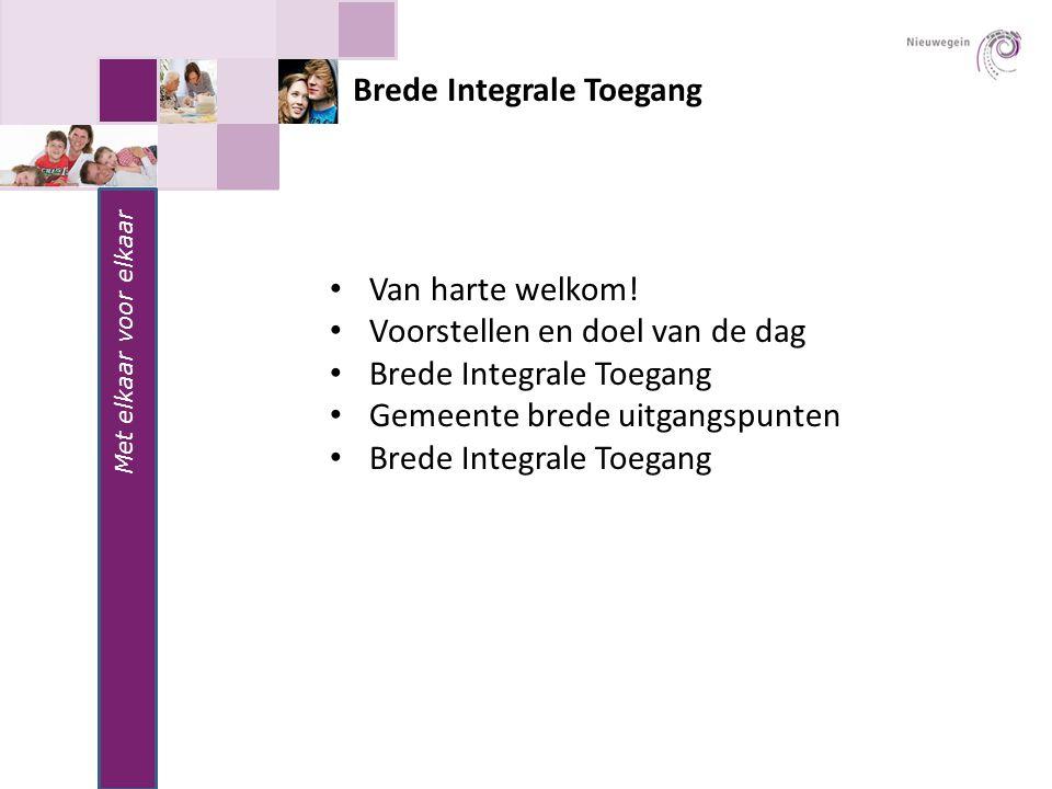 Met elkaar voor elkaar Brede Integrale Toegang Van harte welkom! Voorstellen en doel van de dag Brede Integrale Toegang Gemeente brede uitgangspunten