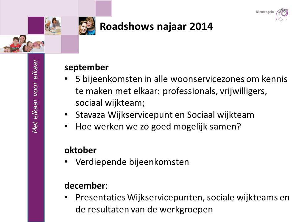 Roadshows najaar 2014 Met elkaar voor elkaar september 5 bijeenkomsten in alle woonservicezones om kennis te maken met elkaar: professionals, vrijwill