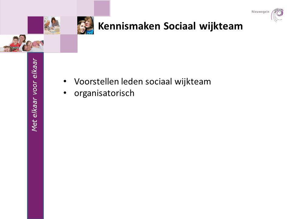 Kennismaken Sociaal wijkteam Met elkaar voor elkaar Voorstellen leden sociaal wijkteam organisatorisch